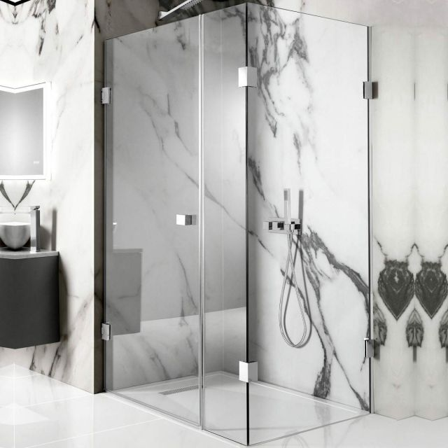 Crosswater Zion Hinged Shower Door with Inline Panel