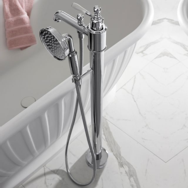 Arcade Floor Standing Bath Filler with Shower Head