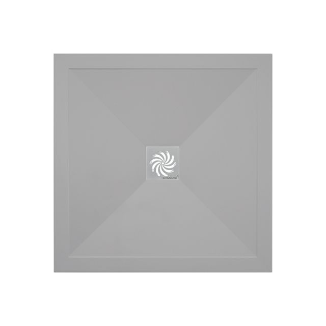 Crosswater 25mm Square Storm Grey Stone Resin Shower Tray