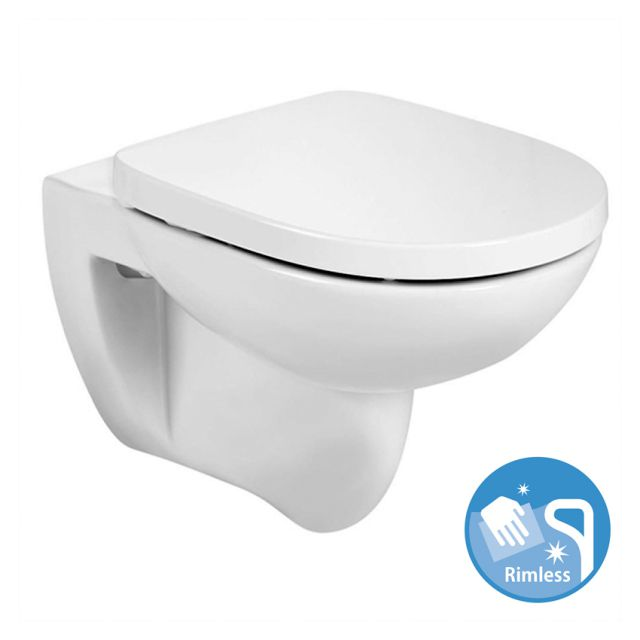 Roca Debba Rimless Round Wall Hung Toilet