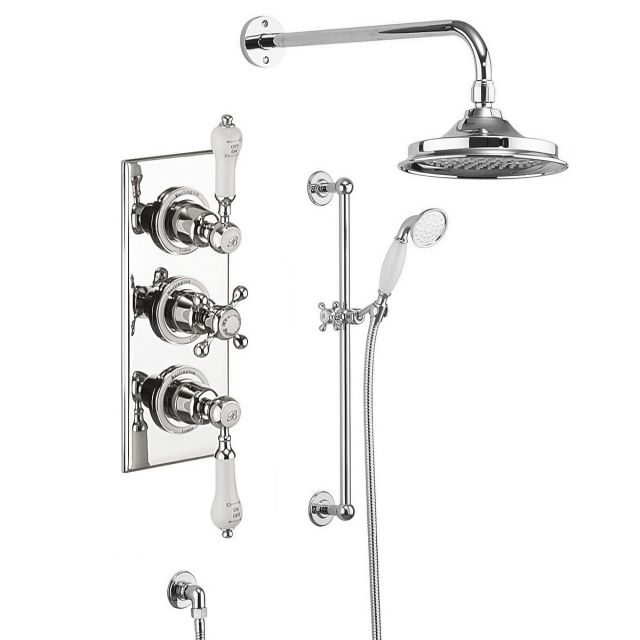 Burlington Trent Concealed 3 Handle Valve with Showerhead  and Rail