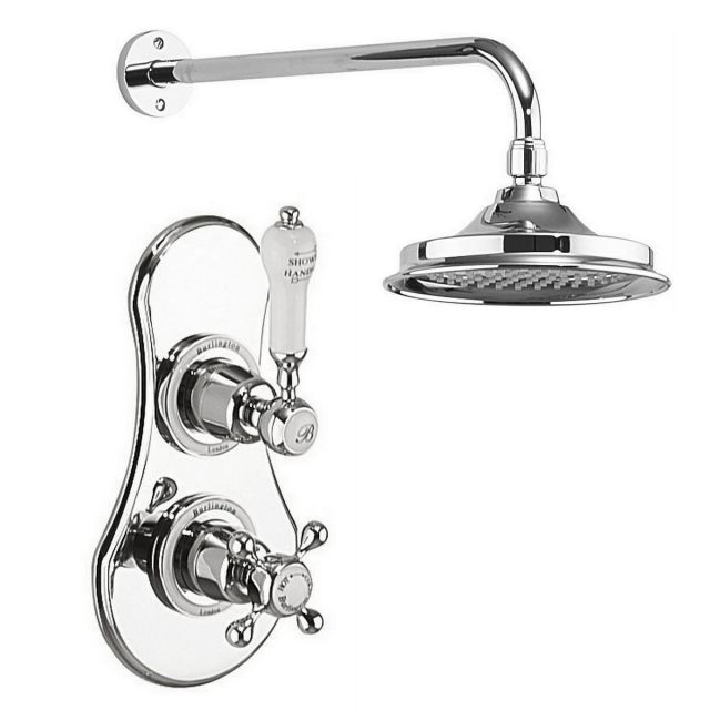 Burlington Severn Showerhead and Concealed Valve with Claremont Handles