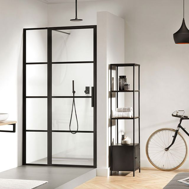 Impey Soho Black Hinged Door with Inline Panel