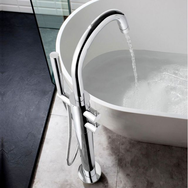 Crosswater Kai Lever Thermostatic Floor Standing Bath Filler with Shower Kit - KL418TFC