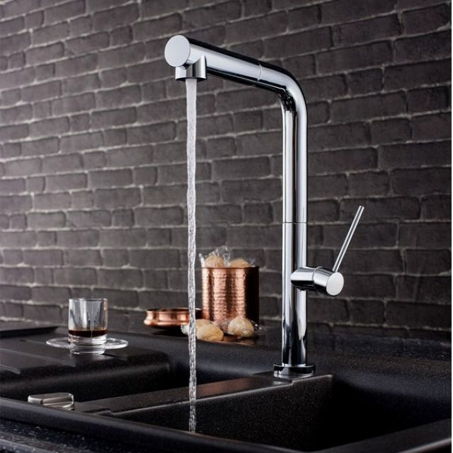 Crosswater Tube Side Lever Kitchen Mixer With Dual Function Spray