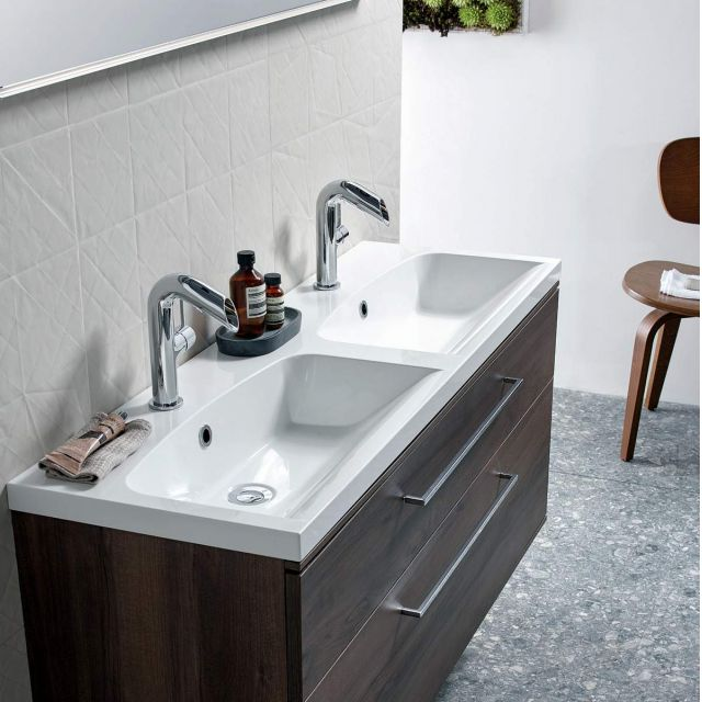 Roper Rhodes Scheme 1200mm Wall Hung Vanity Unit with Isocast Double Basin