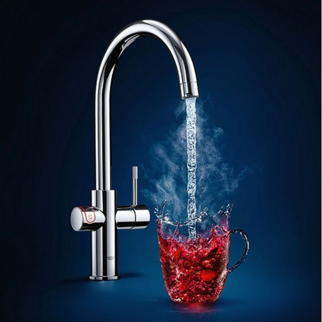 Grohe Red Duo II Boiling Water Kitchen Mixer Tap with C Spout
