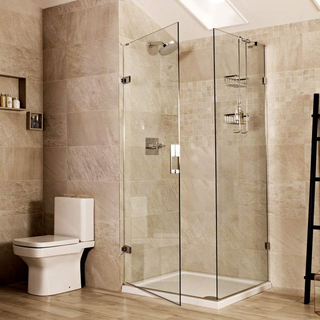Roman Liberty Hinged Shower Door and Side Panel for Corner Installation