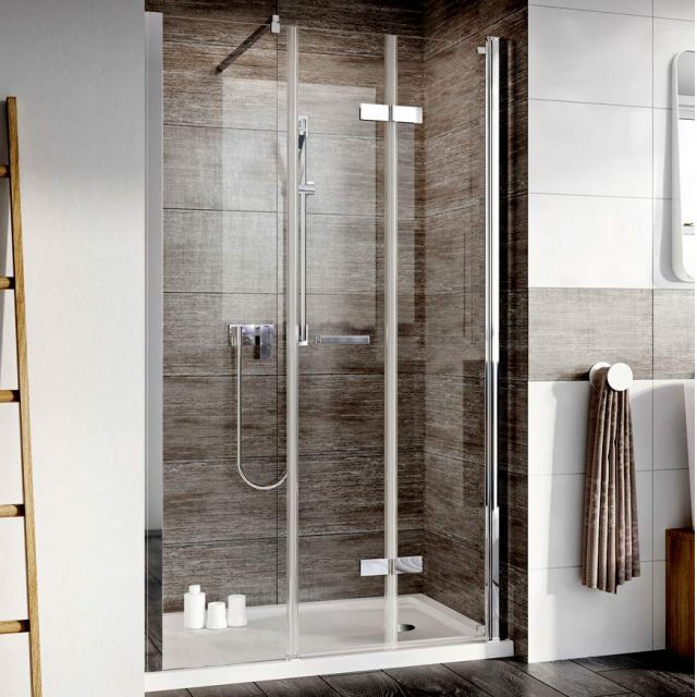 Roman Innov8 Inward Opening Bi-Fold Shower Door with In-Line Panel