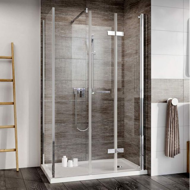Roman Innov8 Inward Opening Corner Bi-Fold Shower Door with Inline Panel