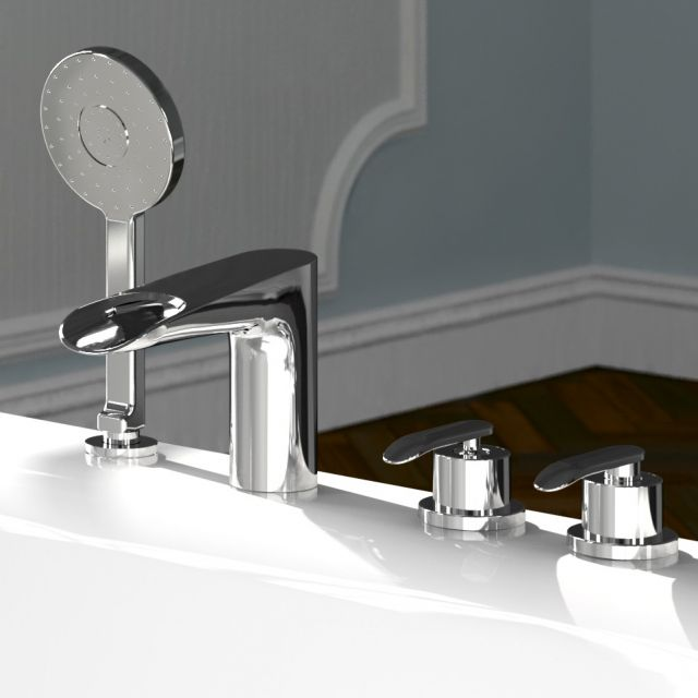 VitrA T4 Deck Mounted Bath Shower Mixer Set