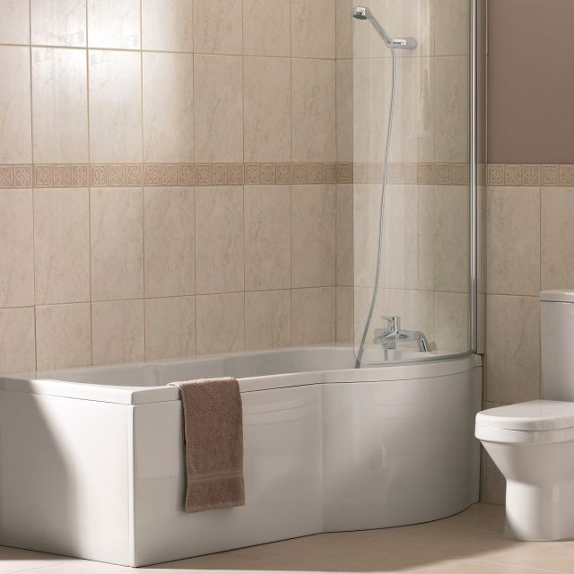 VitrA Delphi P Shaped Shower Bath