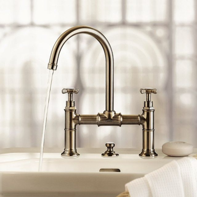 AXOR Montreux 2 Handle Basin Mixer Tap 220 with Pop-up Waste