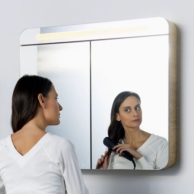 Vitra Sento Double Door Illuminated Mirror Cabinet