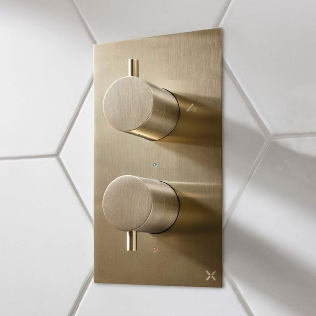 Crosswater MPRO Brushed Brass 2 Outlet Bath and Shower Valve