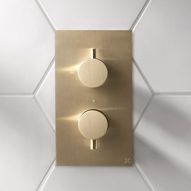 Crosswater MPRO Brushed Brass 2 Outlet Shower Valve