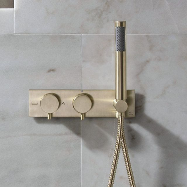 Crosswater MPRO Brushed Brass 2 Outlet Shower Valve with Handset