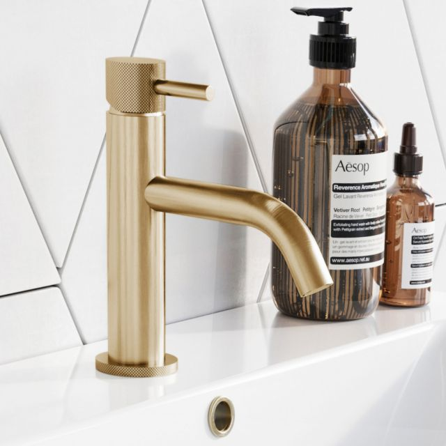 Crosswater MPRO Brushed Brass Knurled Head Basin Tap
