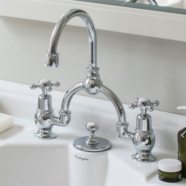 Burlington Anglesey Wide Bridge Basin Mixer Tap 230mm