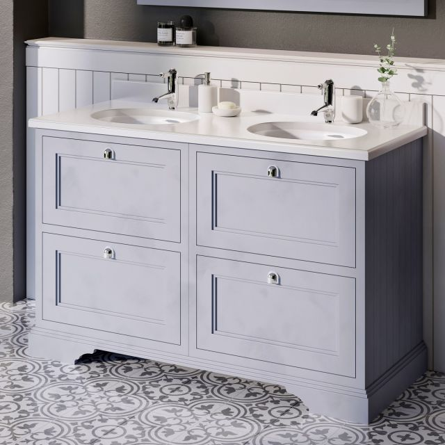 Burlington 1300mm 4 Drawer Vanity with Worktop and Twin Bowls
