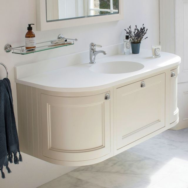 Burlington 134cm Curved Wall Hung Vanity with Worktop