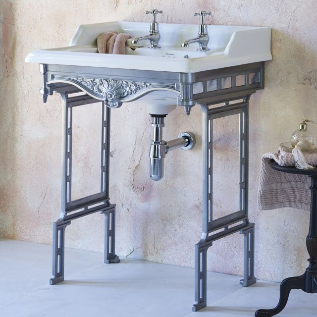 Burlington Classic Square 65cm Basin with Aluminium Washstand