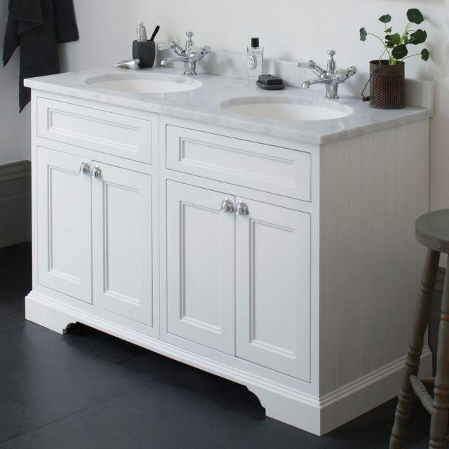 Burlington 130cm 4 Door Vanity with Worktop and Twin Bowls