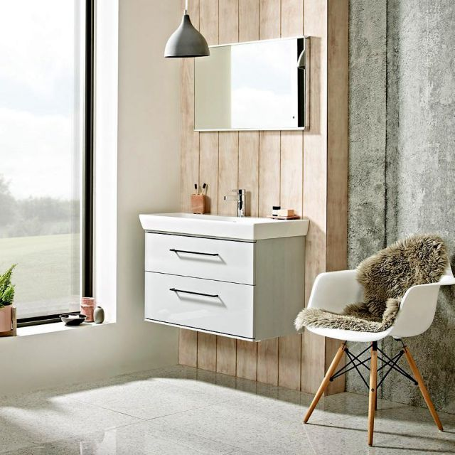 Roper Rhodes Scheme Wall Mounted Vanity Unit with Double Drawers and Ceramic Basin