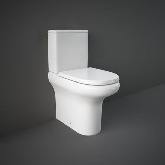 RAK Compact Deluxe Comfort Height Close Coupled Back to Wall Rimless Toilet Suite - COMPAK45010