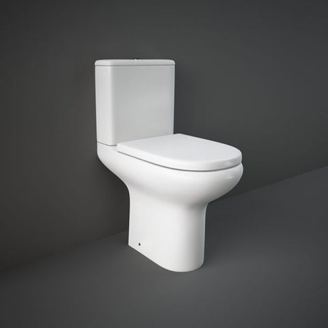 RAK Compact Deluxe Comfort Height Close Coupled Open Back Rimless Toilet Suite
