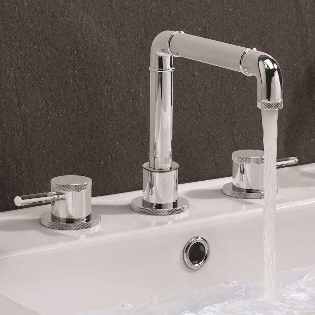 Crosswater MPRO Industrial Chrome 3 Hole Basin Tap