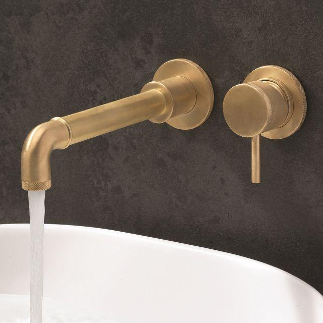 Crosswater MPRO Industrial Unlaquered Brass Wall Basin Tap