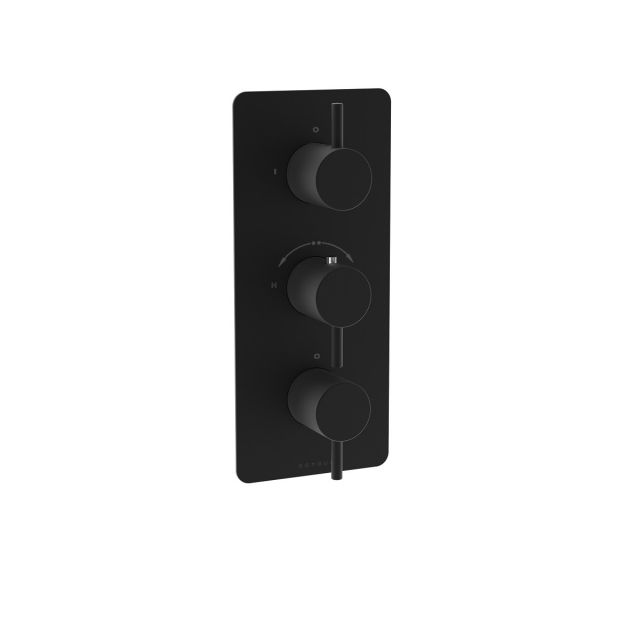Saneux COS Matt Black Two Outlet Thermostatic Shower Valve