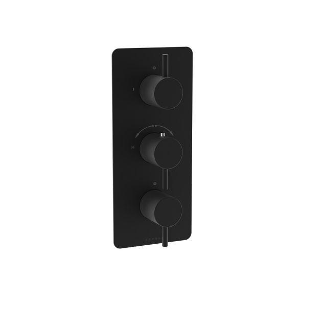 Saneux COS Matt Black Three Outlet Thermostatic Shower Valve