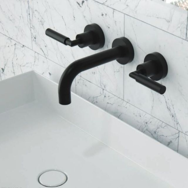 Saneux Tempus 3 Hole Wall Mounted Basin Tap