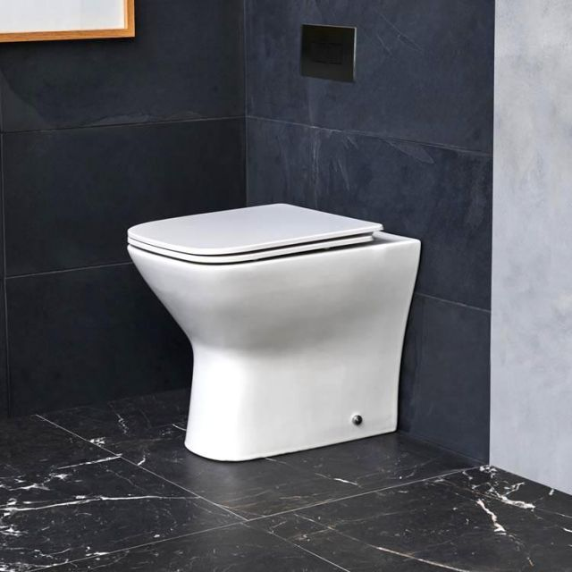 Britton Shoreditch Square Rimless Back to Wall Toilet with Soft Close Seat - SHR050