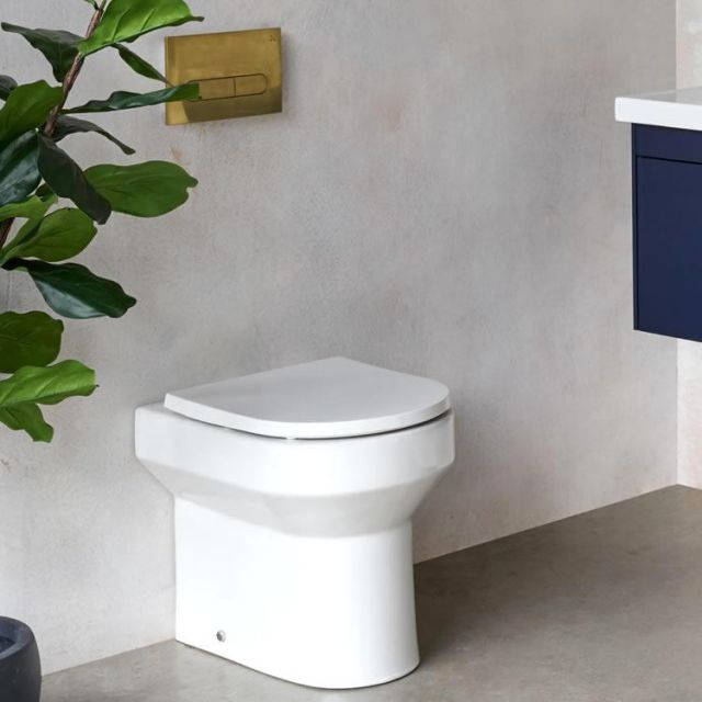 Britton Shoreditch Round Rimless Back to Wall Toilet with Soft Close Seat