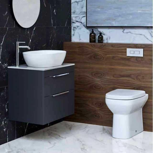 Britton Shoreditch Wall Hung 2 Drawer Vanity Unit with Worktop