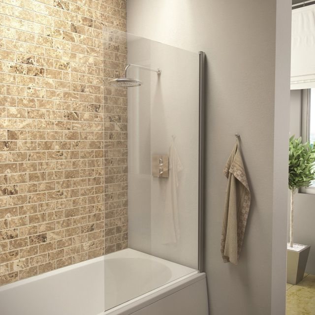 UK Bathrooms Essentials Square Edge Bath Screen