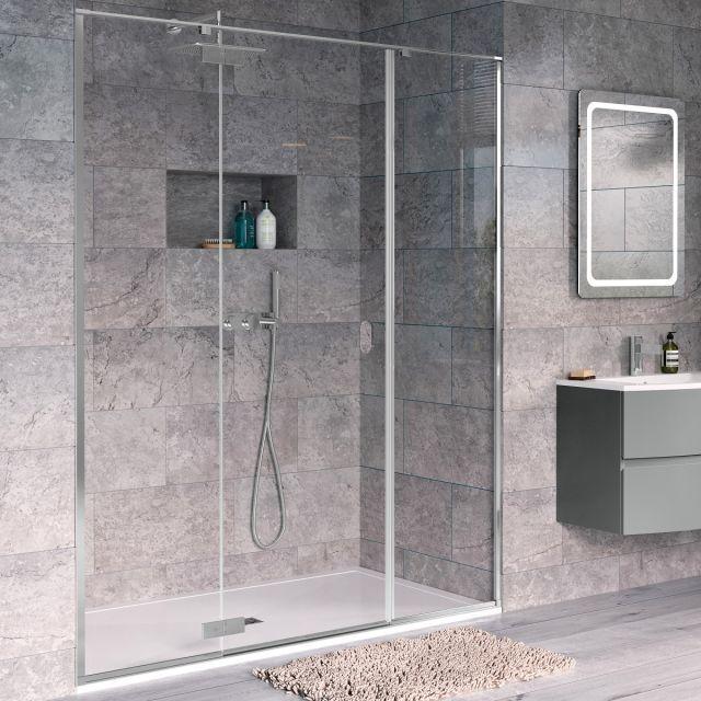 Crosswater Svelte 8 Hinged Inline Shower Door for Recess 1400mm