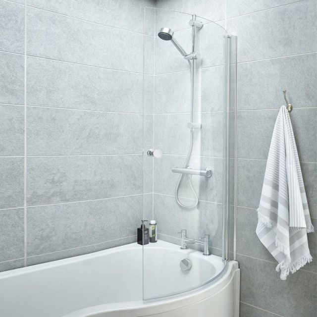 UK Bathrooms Essentials Curved P-Bath Screen with Knob Handle