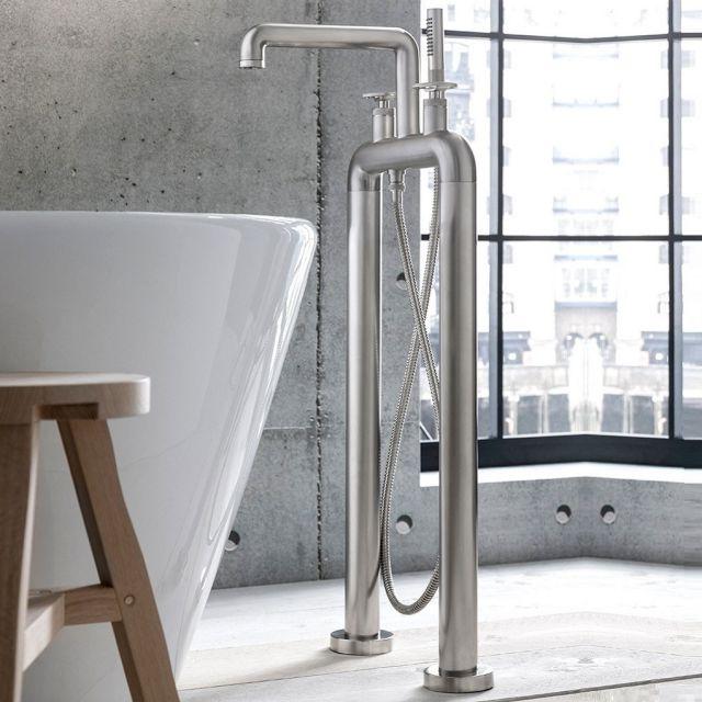 Crosswater Union Brushed Nickel Standing Wheel Handle Bath Shower Mixer Tap
