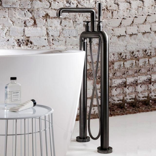 Crosswater Union Brushed Black Chrome Standing Wheel Handle Bath Shower Mixer Tap - UB422DB+