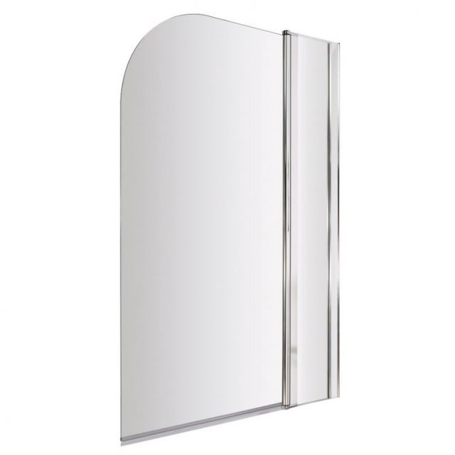 UK Bathrooms Essentials Straight Bath Screen with Fixed Panel