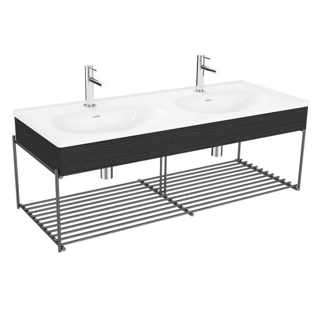 VitrA Equal Double Vanity Unit with Twin Bowls and Black Shelf