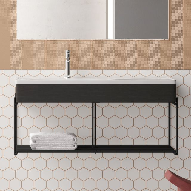 VitrA Equal Asymmetrical Vanity Unit with Black Shelf