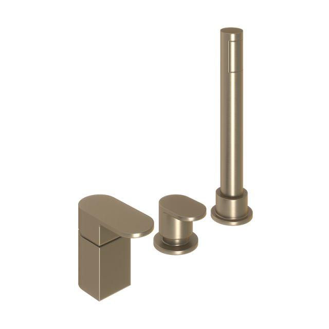 Abacus Ki Brushed Nickel Deck Mounted Bath Shower 3TH - TBTS-057-3203