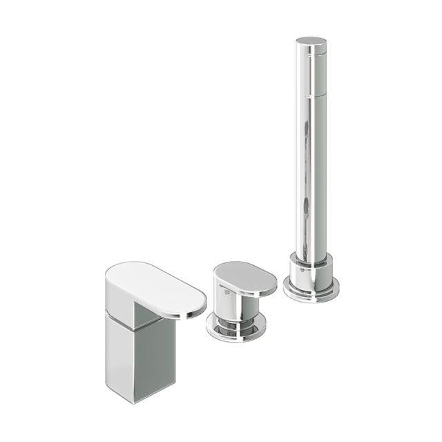 Abacus Ki Chrome Deck Mounted Bath Shower 3TH - TBTS-052-3203