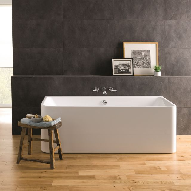 BC Designs Murali Back-to-Wall Double Ended Acrymite Bath