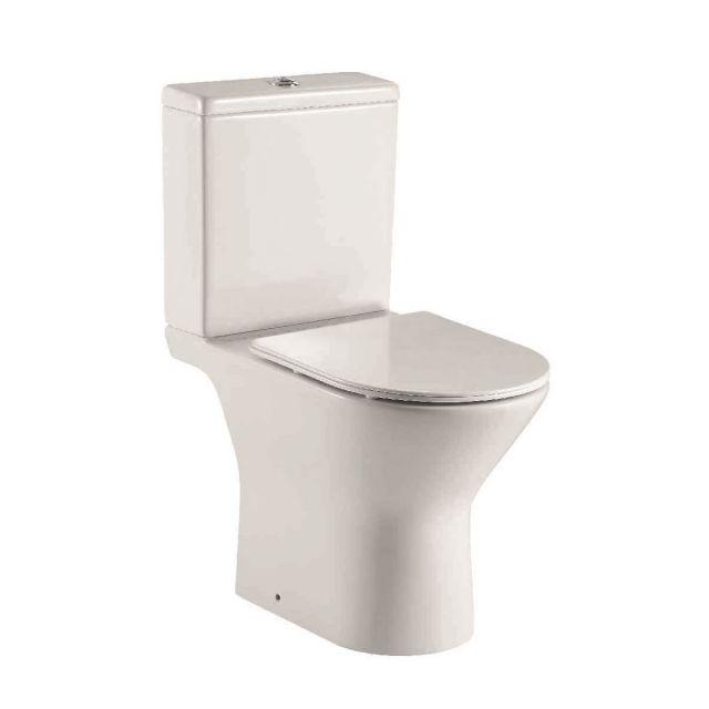 UK Bathrooms Essentials Caxton Rimless Open Back Close Coupled Toilet Suite